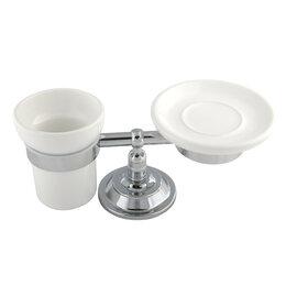 Мыльницы, стаканы и дозаторы - Migliore Mirella Мыльница и стакан  настольные, керамика, хром 27670+27671+28158, 0