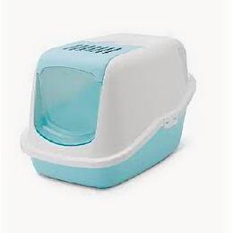 Когтеточки и комплексы  - SAVIC Туалет-домик д/кошек NESTOR голубой RETRO 56*39*38,5 см S0227 , 0