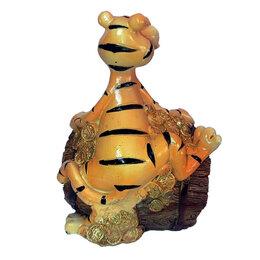Копилки - Копилка Жадный тигр на бочке с деньгами 11,5см, 0