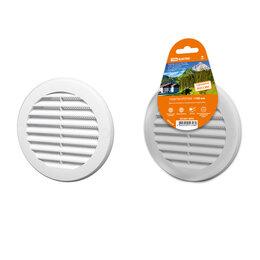 Краны для воды - Решетка круглая с москитной сеткой с фланцем d100 внешний D130 белая TDM, 0
