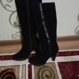 Сапоги - Сапоги женские зимние замшевые на каблуке, 0