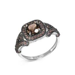 Кольца и перстни - Кольцо с раух топазом и 56 фианитами из белого золота, 0