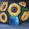 """Картина """"Подсолнухи в вазе"""", с багетом, 41х35,5см, масло, холст по цене 3000₽ - Картины, постеры, гобелены, панно, фото 0"""