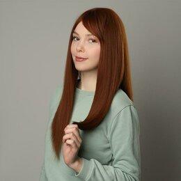 Аксессуары для волос - Queen fair Парик искусственный, с чёлкой, имитация кожи, 60 см, цвет рыжий, 0