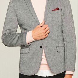 Пиджаки - Новый меланжевый пиджак с нашивками на рукавах, 0