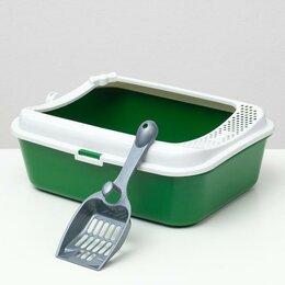 Туалеты и аксессуары  - Туалет Сима с бортом + сетка + совок 30 х 39 х 13,5 см зеленый FIX, 0