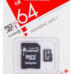 Карты памяти - Карта памяти MicroSD 64Гб Class 10 UHS-1 Smartbuy + SD адаптер, 0