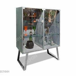 """Кровати - Шкаф с витриной 2-х дв. """"Dillinger"""" (низкий); пепельный дуб, металл сатин; ст..., 0"""