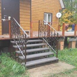 Лестницы и элементы лестниц - Уличная лестница металлическая из террасной доски, 0