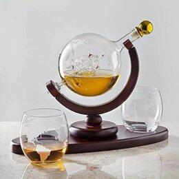 Бокалы и стаканы - Набор для виски на деревянной подставке глобус , 0