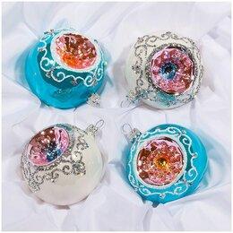 Ёлочные украшения - Набор стеклянных шаров «Арктический» 4шт.75мм, подар/коробка, 0