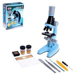 Детские микроскопы и телескопы - Микроскоп детский «Юный ботаник», кратность х100, х400, х1200, цвет голубой, ..., 0