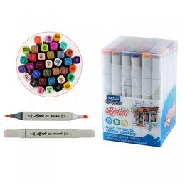 Письменные и чертежные принадлежности - Набор маркеров для скетчинга двусторонних LINDO,36цв., Main colors 1 (основные ц, 0