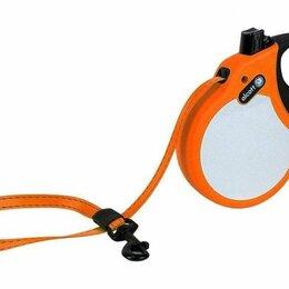 Намордники и недоуздки  - ALCOTT Visibility Рулетка-ремень антискользящая для собак до 30кг, 5м, неон оран, 0
