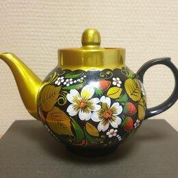 Заварочные чайники - Фарфоровый заварочный Чайник Дулево роспись под хохлому, 0