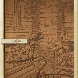 """Двери - Дверь для бани и сауны Русская баня 1850*680, 8 мм, серии """"Рисунок"""" правая/бр..., 0"""