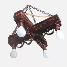 Люстры и потолочные светильники - Люстра кованая под старину из дерева, 0