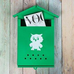 Почтовые ящики - Ящик почтовый без замка (с петлёй), вертикальный, 'Домик', зелёный, 0