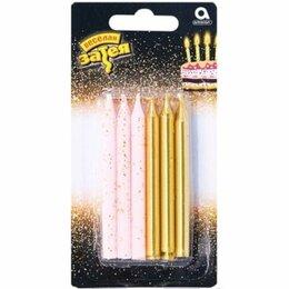 Интерьерная подсветка - Набор свечей золот/розов блеск, 8см, 12шт, 0