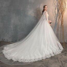 Платья -  Новое свадебное платье со шлейфом и  накидкой, 0