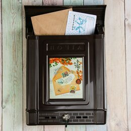 Почтовые ящики - Ящик почтовый, пластиковый, 'Декор', с замком, коричневый, 0