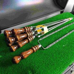 Шампуры - Двойной шампур с деревянной ручкой (шампур-вилка), 10х3 мм, 45 см, 0