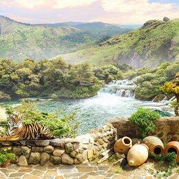 Обои - Фреска на стену с пейзажем и водопадом, 0