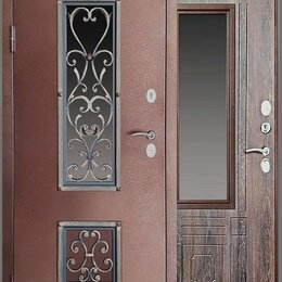 Входные двери - Входная дверь со стеклом и ковкой Амор, 0