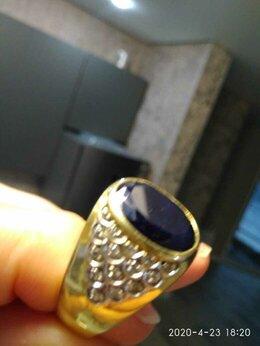 Кольца и перстни - золотое кольцо с бриллиантами и сапфиром, 0