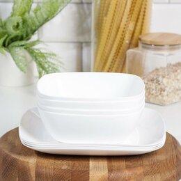 Тарелки - Набор тарелок 'Квадро', цвет белый, 0