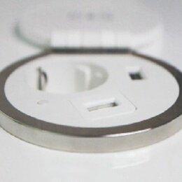 Электроустановочные изделия - Блок розеток врезной, 1 розетка, 1 USB, беспроводная зарядка, серебро+белый, d=8, 0
