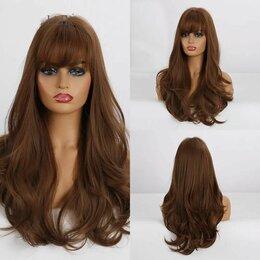 Аксессуары для волос - Парик волнистый длинный с челкой Каштан, 0