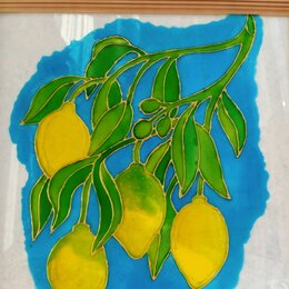Картины, постеры, гобелены, панно - Витражное панно Сочные лимоны, 0