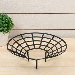 Шпалеры, опоры и держатели для растений - Кустодержатель для клубники, 25.5 см, пластик, набор 5 шт., чёрный, 0