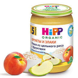Детское питание - HIPP Пюре Рисовая Каша с Фруктами {с 5 мес} 190г., 0