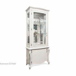 """Кровати - Шкаф с витриной """"Луиза"""" 1-но дв. высокий (левый); белая эмаль с серебряной па..., 0"""