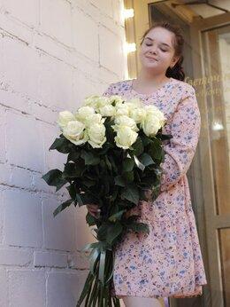 Цветы, букеты, композиции - Розы высокие белые 100см, 0