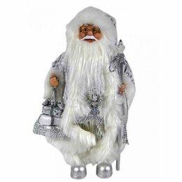 Наука и образование - Дед Мороз с подарком и посохом серебристый костюм 30см, 0