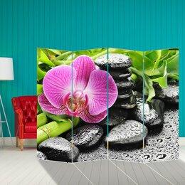 """Ширмы - Ширма """"Розовая орхидея на камнях """", 200 × 160 см, 0"""