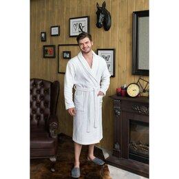 Домашняя одежда - Халат мужской, шалька, размер 48, цвет белый, махра, 0