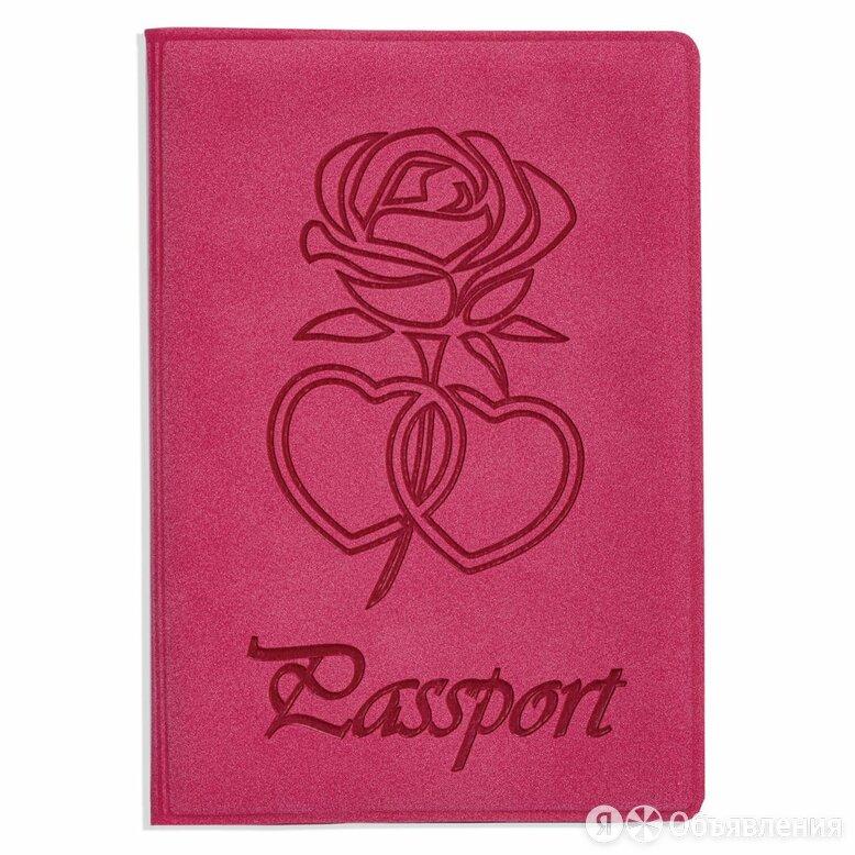 Обложка для паспорта STAFF, бархатный полиуретан, «Роза», розовая, 237619 по цене 176₽ - Обложки для документов, фото 0