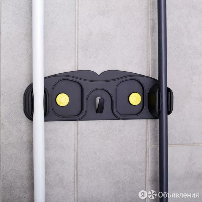 Держатель для уборочного инвентаря с крючками, 30×10×5 см, на липучке, цвет МИКС по цене 313₽ - Вешалки настенные, фото 0