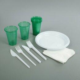Наборы для пикника - Набор одноразовой посуды на 6 персон «Пикничок», цвет МИКС, 0