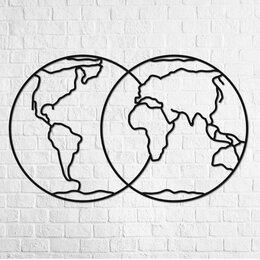 Пазлы - Деревянный интерьерный пазл «Полушария Земли», 0