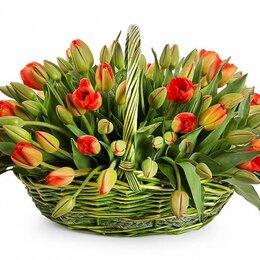 Цветы, букеты, композиции - Композиция в корзине «Весеннее пламя» - L (25шт), 0