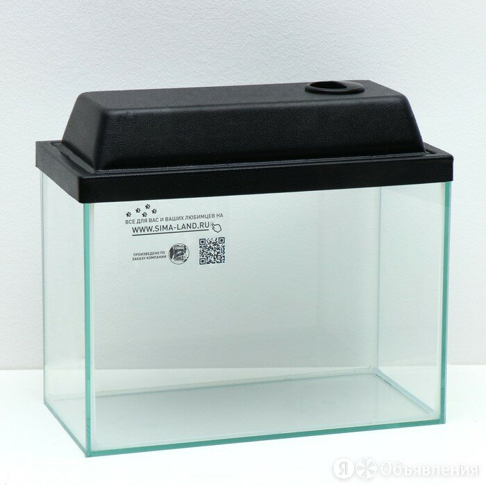 Аквариум прямоугольный с крышкой, 15 литров, 34 x 17 x 25/27,5 см, чёрный по цене 1401₽ - Аквариумы, террариумы, тумбы, фото 0