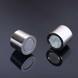 Аксессуары - Замок-концевик магнитный, L=20мм, вн.D=12мм, (набор 2шт), цвет серебро, 0