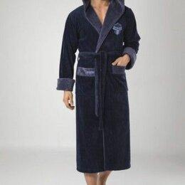 Домашняя одежда - Nuse 3XL темно-синий мужской халат с капюшоном. Турция, 0