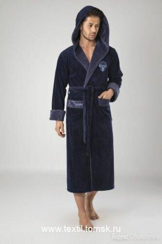 Nuse 3XL темно-синий мужской халат с капюшоном. Турция по цене 5759₽ - Домашняя одежда, фото 0