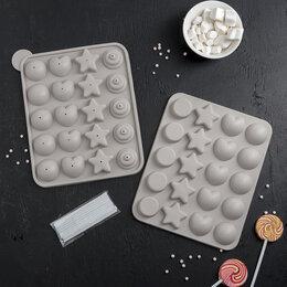Формы для льда и десертов - Форма для леденцов «Сладости-радости», 23×19×3 см, 20 ячеек, с палочками, 0